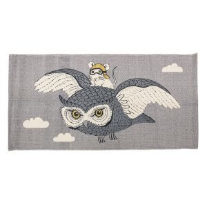 Bloomingville Owl & Mouse Matto Harmaa 60x120 Cm