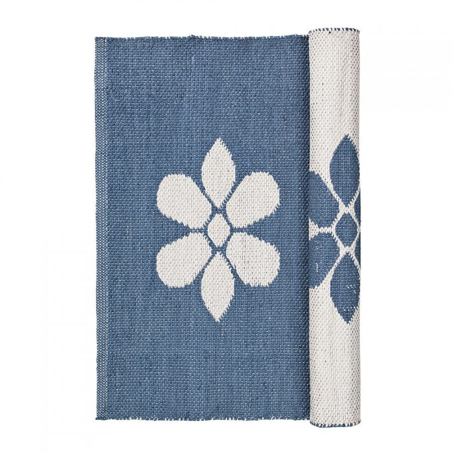 Broste Copenhagen Flower Matto 60x90 Cm Flintstone Blue/Norsunluu