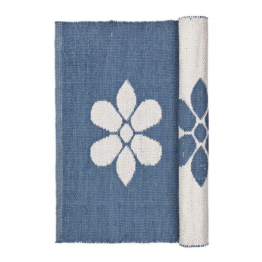 Broste Copenhagen Flower Matto 70x140 Cm Flintstone Blue/Norsunluu