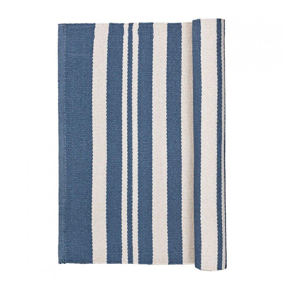 Broste Copenhagen Stripe Matto 60x90 Cm Flintstone Blue/Norsunluu