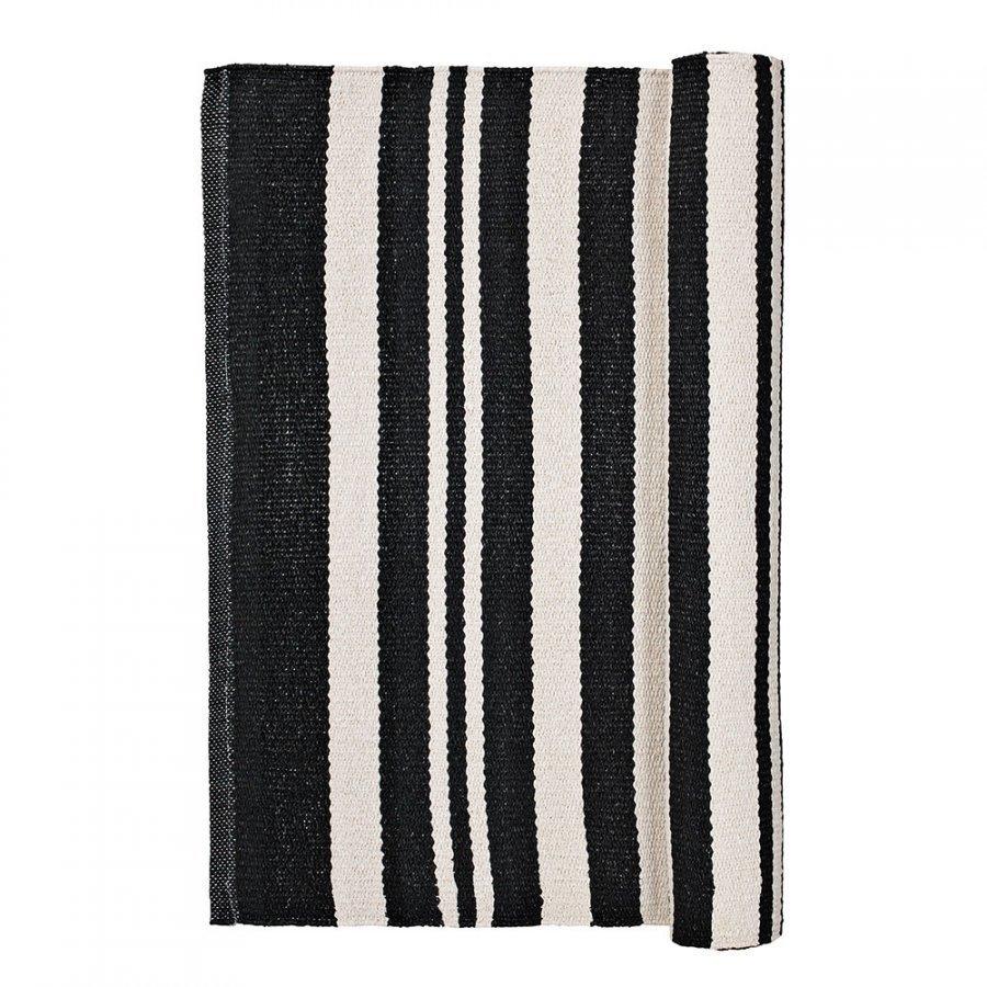 Broste Copenhagen Stripe Matto 70x140 Cm Musta/Norsunluu