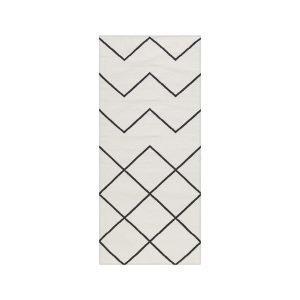 Decotique Geometrie Coton 01 Matto Valkoinen / Musta 80x200 Cm