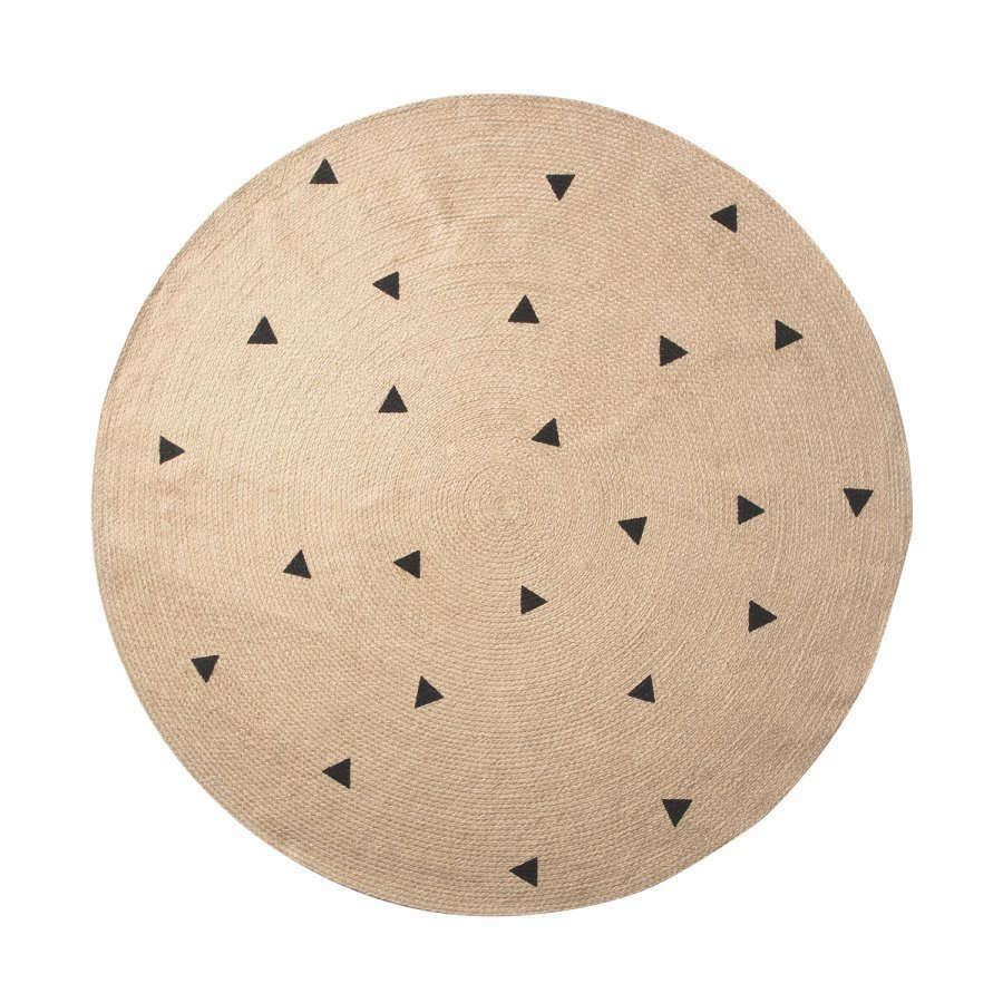Ferm Living Jute Matto 130 Cm Black Triangles