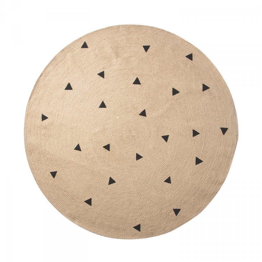 Ferm Living Jute Matto 130 Cm Black Triangles