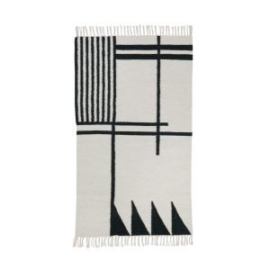 Ferm Living Kelim Matto Black Lines S