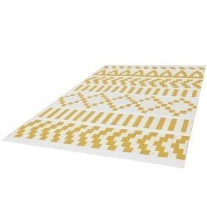 Forme Pikseli Puuvillamatto Keltainen / Valkoinen 80x250 Cm