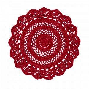 Jotex Morria Puuvillamatto Punainen Ø 100 Cm