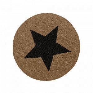 Jotex Stjärna Bukleematto Ruskea Ø 133 Cm