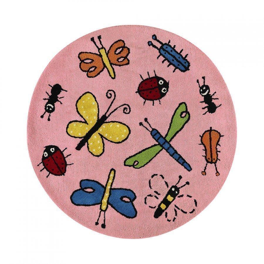 Kateha Bugs Matto Ø130 Cm Pink