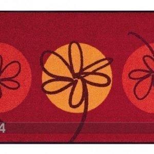 Kleen-Tex Matto Fleurette Rouge 75x120 Cm