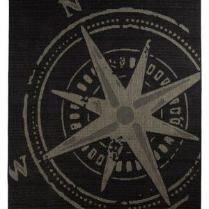 Kompass Bukleematto 133x190 Cm Harmaa / Musta