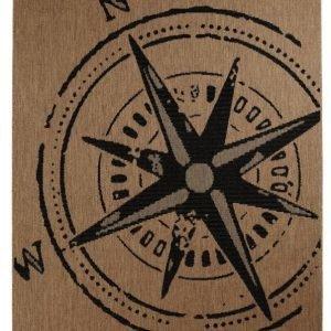 Kompass Bukleematto 160x230 Cm Ruskea / Musta