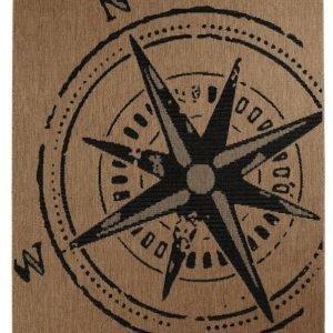 Kompass Bukleematto 200x290 Cm Ruskea / Musta