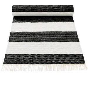 Ränder Muovimatto 70x150 Cm Musta / Valkoinen