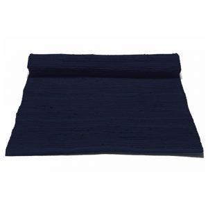 Rug Solid Cotton Matto Deep Ocean Blue 75x300 Cm