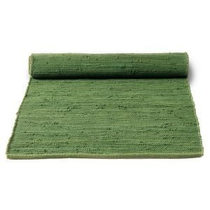 Rug Solid Cotton Matto Olive Green 75x300 Cm