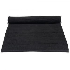 Rug Solid Cotton Matto Reuna Musta 75x200 Cm