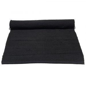 Rug Solid Cotton Matto Reuna Musta 75x300 Cm