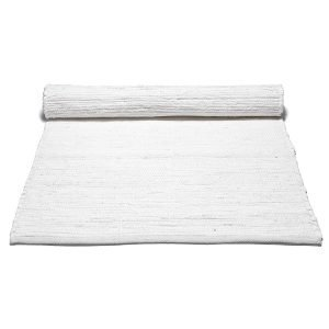 Rug Solid Cotton Matto Reuna Valkoinen 140x200 Cm