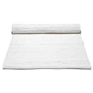 Rug Solid Cotton Matto Reuna Valkoinen 75x200 Cm
