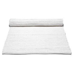 Rug Solid Cotton Matto Reuna Valkoinen 75x300 Cm
