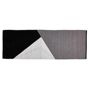 Rug Solid Horizon Villamatto Musta / Harmaa / Valkoinen 80x240 Cm