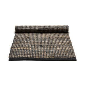 Rug Solid Jute / Leather Matto Tummanharmaa 65x135 Cm