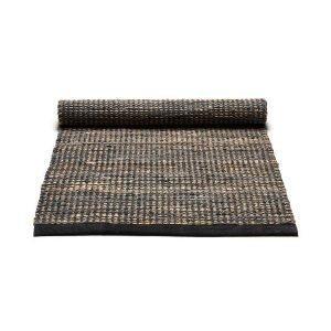 Rug Solid Jute / Leather Matto Tummanharmaa 65x135 Cm