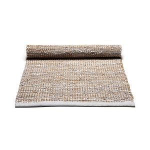 Rug Solid Jute / Leather Matto Vaaleanharmaa 65x135 Cm