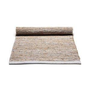 Rug Solid Jute / Leather Matto Vaaleanharmaa 65x135 Cm