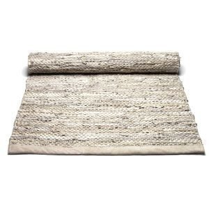 Rug Solid Leather Nahkamatto Reuna Beige 65x135 Cm