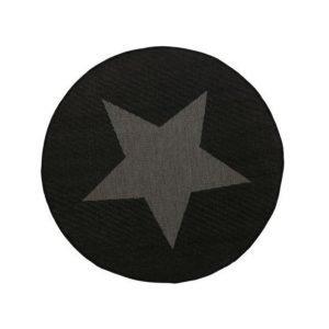 Stjärna Bukleematto Ø 133 Cm Musta / Harmaa
