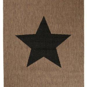 Stjärna Bukleematto 160x230 Cm Ruskea / Musta