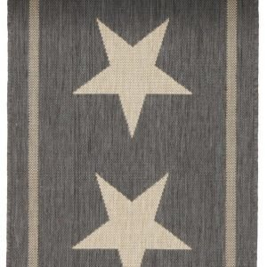 Three Stars Bukleematto 60x110 Cm Musta / Luonnonbeige