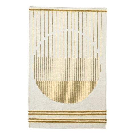 Woud Raining Circle Matto 170x240 cm Valkoinen-Keltainen