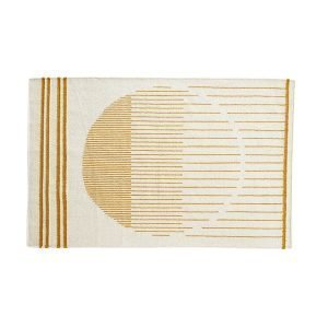 Woud Raining Circle Matto Valkea / Keltainen 90x140 Cm